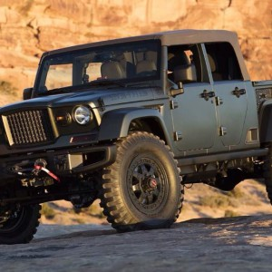 The 2016 Jeep concept 4-door Wrangler JK near Courthouse Rock, Moab.
